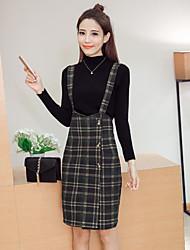 unterzeichnen 2017 Frühjahr neues hohe Kragen Pullover Kleid + karierte Hosenträger Stück eingebaut Frauen
