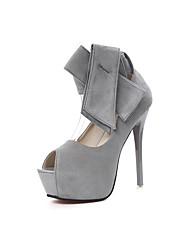 Damen-High Heels-Kleid-Vlies-Stöckelabsatz-Club-Schuhe-Schwarz Grau