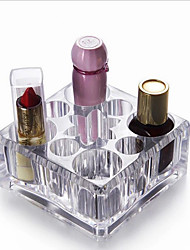 Clear Acrylic 9 Grids Makeup Organizer Brush Lipstick Holder Cosmetics Storage Case Box Display Stand Racks Shelf