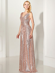 Formal Evening Dress Trumpet / Mermaid V-neck Floor-length Sequined with Sequins