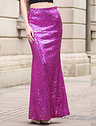Women's Sequin Casual/Daily Sexy Cute Trumpet/Mermaid Dress,Solid Sequins Round Neck Maxi Sleeveless Polyester Red Purple Gold SilverSpring