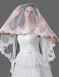 Hochzeitsschleier Einschichtig Fingerspitzenlange Schleier Kapellen Schleier Spitzen-Saum Tüll