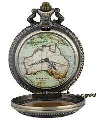 Pocket Watch Necklace Watch Quartz Alloy Band Vintage World Map Bronze