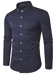 Men's Work Simple Spring Fall Shirt,Solid Classic Collar Long Sleeves Cotton Medium