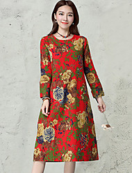 HOT!Women's Casual/Daily Vintage Simple Loose DressFloral Round Neck Midi Long Sleeve Cotton Linen Blue Red Spring Fall Mid Rise