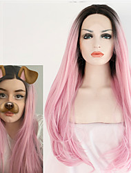 жен. Парики из искусственных волос Лента спереди Длиный Естественные волны Розовый Темные корни Природные волосы Волосы с окрашиванием