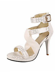 Women's Sandals Summer Club Shoes Customized Materials Leatherette Party & Evening Dress Stiletto Heel Buckle Ribbon Tie ZipperLight Pink