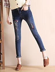signer 2017 version coréenne de jeans stretch pantalons féminins crayon pantalons serrés pantalon skinny trou visible