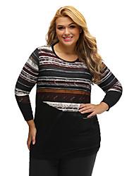 Women's Striped Contrast Splice Plus Size Top