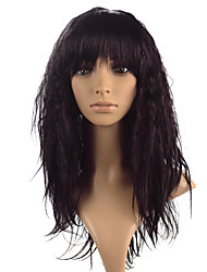 Kinky Curly Wig Dark Wine Color Synthetic Fiber Heat Resistant Costume Cosplay Wigs