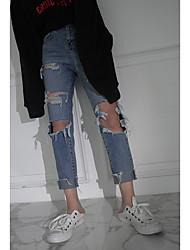 buracos mendigo calças jeans da moda casuais