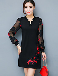 Plus Size Casual/Daily Street chic Sheath Dress,Patchwork Embroidered Mesh Asymmetrical Above Knee Long Sleeve Polyester Nylon Red Black