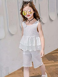 Girls' Formal Solid Sets,Cotton Summer Sleeveless Clothing Set