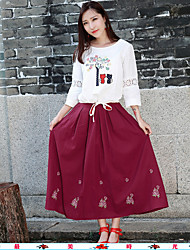 Frau&# 39; s 2017 Frühling nationale Windstickereibaumwoll literarisch Tasche einfache Art und Weise elastische Röcke Taille