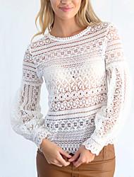 Damen Solide Sexy Einfach Ausgehen Lässig/Alltäglich T-shirt,Rundhalsausschnitt Frühling Herbst Langarm Polyester Mittel