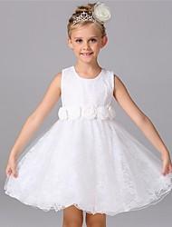 Ball Gown Knee-length Flower Girl Dress - Organza Jewel with Flower(s)