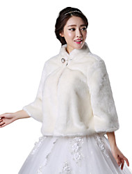 Fur Wraps / Wedding  Wraps / Fur Coats Coats/Jackets Long Sleeve Faux Fur White Wedding / Party/Evening High Neck Button Clasp