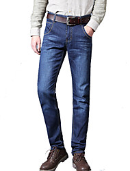 Men's Straight Slim Jeans PantsCasual/Daily Simple Solid Mid Rise Button Cotton Polyester Micro-elastic Spring Summer MG-141
