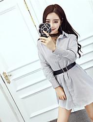 сингапурский знак весна корейской моды ола темперамент марля рубашка / полосатая рубашка талия платье из двух частей