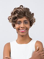 привлекательным высокое качество смешанный цвет короткий вьющиеся волосы синтетический парик
