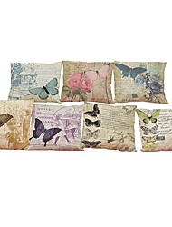 Set of 7 Retro Butterfly pattern Linen  Cushion Cover Home Office Sofa Square  Pillow Case Decorative Cushion Covers Pillowcases