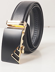 Men's leisure fashion black leather black gold automatic cingulate body is about 3.6 cm wide