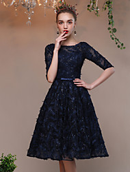 Cocktail Party Dress A-line Jewel Knee-length Lace Tulle with Bow(s) Lace Bandage