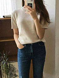 Korean chic pig oni with spring and summer short paragraph was thin milk beige short-sleeved knit sweater women