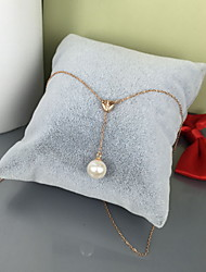 Pendant Necklaces Pearl Pearl Simulated Diamond 18K gold Circle Circular Silver Jewelry Daily 1pc