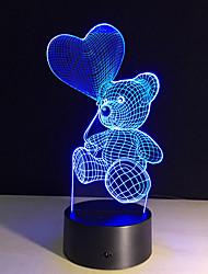 la figura dell'orso simpatico cartone animato cuore della lampada LED 3D bambino della luce di notte