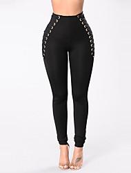 Feminino Skinny Chinos Calças-Cor Única Happy-Hour Casual Simples Moda de Rua Cintura Alta Elasticidade Poliéster Micro-ElásticoCom Molas