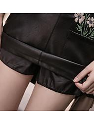Zeichen Wasser Frühjahr neue Hosen PU-Leder Taille ein Wort Rockpakethüfte Röcke Schritt bestickt Rock