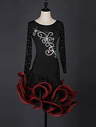 Latin Dance Dresses Women's Performance Spandex Organza Crystals/Rhinestones 1 Piece Long Sleeve Dress