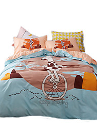 Novelty Duvet Cover Sets 4 Piece Lovely Animal Polyester Pattern Reactive Print Polyester Queen 4pcs (1 Duvet Cover 1 Flat Sheet 2 Shams)