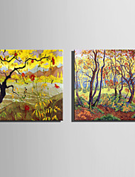 E-HOME Stretched Canvas Art Late Autumn Woods Scenery Decoration Painting One Pcs