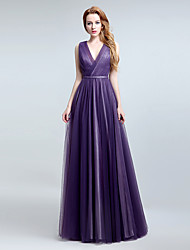 Formal Evening Dress Sheath / Column V-neck Floor-length Tulle with Side Draping
