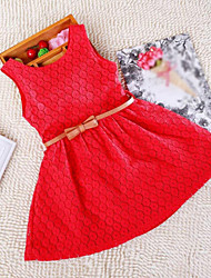 Menina de Vestido Jacquard Renda Verão / Inverno / Outono / Primavera Rosa / Violeta / Vermelho / Branco