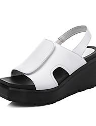 Damen-Sandalen-Büro Kleid Lässig-Leder-KeilabsatzWeiß