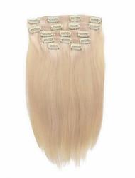 7 unid / set # 60 platium cinzas louro grampo em extensões de cabelo loiro 14 polegadas 18 polegadas 100% cabelo humano