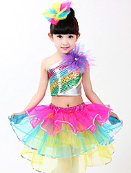 Shall We Jazz Outfits Children Performance Tiers Splicing 3 Pieces