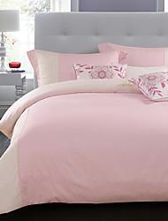 Floral Duvet Cover Sets 4 Piece Cotton solid Embroidery Cotton Queen King 1pc Duvet Cover 2pcs Shams 1pc Fitted Sheet