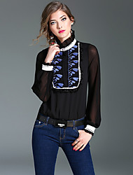 Women's Formal Street chic Spring Blouse,Color Block Patchwork Embroidered Stand Long Sleeve White Black Silk Thin