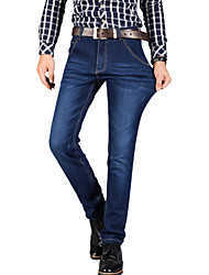 Men's Straight Slim Jeans PantsCasual/Daily Simple Solid Mid Rise Button Cotton Polyester Micro-elastic All Seasons MG-140