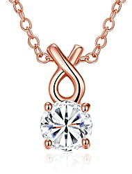 Women's Pendant Necklaces Chain Necklaces AAA Cubic Zirconia Zircon Cubic Zirconia Copper Silver Plated Rose Gold Plated GeometricBasic
