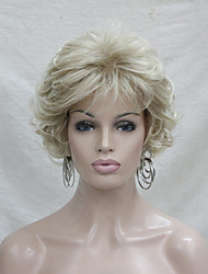 New Wavy Curly Golden Blonde Mix Short Synthetic Hair Full Women's  Wig For Everyday