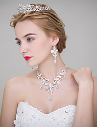 The Bride Wedding Headdress Flower Hair Accessories Crown Necklace Earrings Three Piece Wedding Jewelry