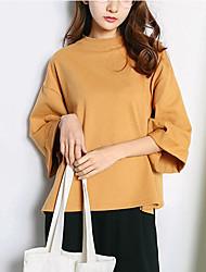 Damen Solide Einfach Lässig/Alltäglich T-shirt,Rundhalsausschnitt Frühling Sommer ½ Länge Ärmel Rosa Weiß Grau Gelb Nylon Mittel