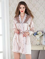Damen Dessous Satin & Seide Besonders sexy Nachtwäsche,Sexy Spitze einfarbig-Dünn Spitze Satin Seide Eis-Seide Weiß Rosa Gold