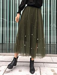 unterzeichnen 2017 Frühjahr neue koreanische Nettoschleier Faltenrock Perlen langen Abschnitt der hohen Taille große Schaukel Röcke