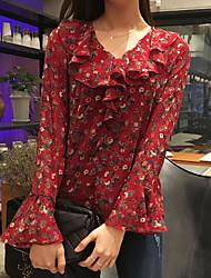 Women's Ruffle|Flare Sleeve Casual/Daily Simple Blouse,Print Asymmetrical Long Sleeve Red Black Acrylic Medium